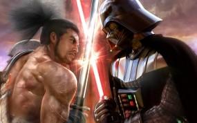 Обои Darth vader vs самурай: Битва, Катана, Звездные войны, Мечи, Фэнтези