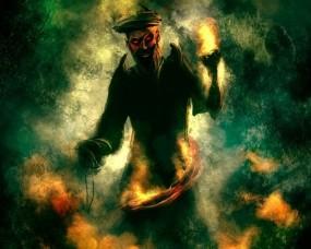 Обои Злой волшебник: Огонь, Рисунок, Волшебник, Фэнтези