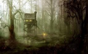 Обои Домик на болоте: Огни, Рисунок, Дом, Паутина, Болото, Фэнтези