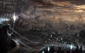 Обои Demons Souls: Развалины, Бой, Войны, Магия, Монстры, Фэнтези