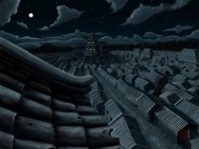 Обои Японские крыши: Ночь, Япония, Крыши, Фэнтези