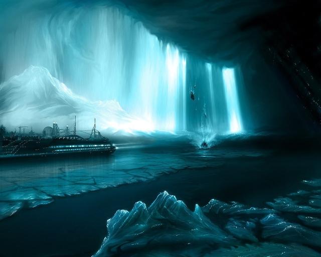 Корабль в бирюзовом леднике