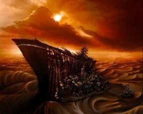 Обои Картина  Vitaly s Alexius: Пустыня, Город, Рисунок, Корабль, Фэнтези