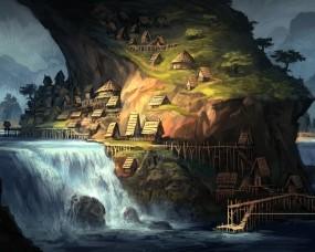 Обои Фентазийный водопад: Река, Водопад, Фентези, Пейзаж, Фэнтези
