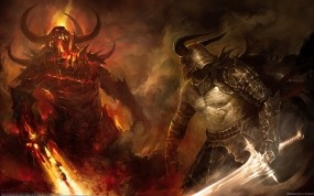 Обои Схватка демонов: Огонь, Битва, Воин, Демон, Мечи, Фэнтези
