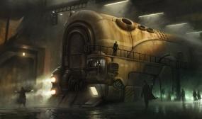 Обои Арт Марчина Якубовского: Железная дорога, Поезд, Люди, Фэнтези