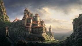 Обои Восточный монастырь: Горы, Монастырь, Фэнтези