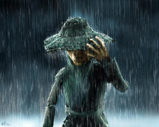 Человек под дождём
