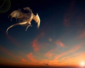 Обои Летящий дракон: Закат, Полёт, Дракон, Фентези, Фэнтези