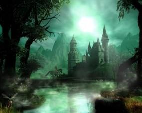 Обои Сказочный замок: Ночь, Замок, Фентези, Фэнтези
