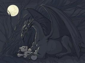 Обои Дракон с игрушкой: Игрушка, Фэнтези, Дракон, Фэнтези