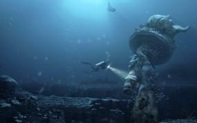 Обои Подводный Нью-Йорк: Фэнтези, Аквалангист, Будущее, Статуя, Фэнтези