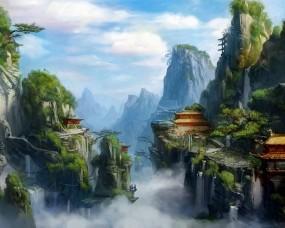 Обои Зелёный город: Горы, Зелень, Город, Туман, Фэнтези