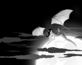 Обои Волк с крыльями: Облака, Девушка, Луна, Волк, Крылья, Фэнтези