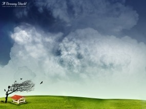 Обои Dreamy World: Тучи, Фэнтези, Дерево, Небо, Фэнтези