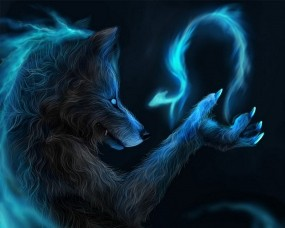 Обои Магический волк: Волк, Фентези, Магия, Фэнтези