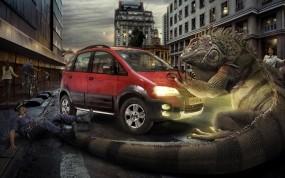 Игуана и машина