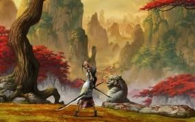 Обои Девушка с мечами: Горы, Девушка, Меч, Фэнтези