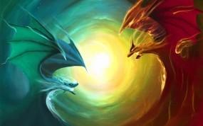 Обои Добро и зло: Фэнтези, Дракон, Противостояние, Фэнтези - Девушки