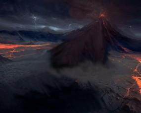 Обои Тёмный вулкан: Лава, Вулкан, Молнии, Фэнтези