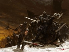 Обои Битва Adrian Smith: Зима, Снег, Битва, Воин, Оружие, Меч, Топор, Фэнтези