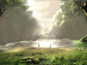 Обои Лесное озеро: Лес, Озеро, Рисунок, Птицы, Фэнтези