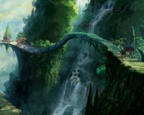 Обои Водопад: Лес, Мост, Водопад, Фэнтези