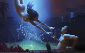 Обои Похищение из бассейна: Девушка, Бассейн, Парень, Фэнтези