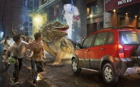 Обои Монстр у машины: Машина, Монстр, Люди, Фэнтези