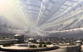 Обои Арт Mass Effect: Город, Игра, Станция, Будущее, Фэнтези