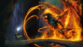 Обои Gandalf vs Balrog: Властелин колец, Арт, Маг, The lord of the rings, Фэнтези