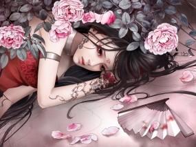 Обои Zhang Xiao Bai: Девушка, Тату, Лепестки, Розы, Фэнтези