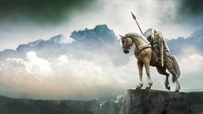 Обои Воин: Скалы, Воин, Небо, Конь, Фэнтези