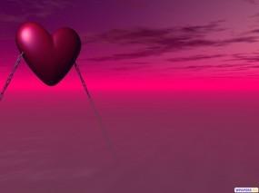 Обои 3D Сердце: Цепи, Сердце, Розовый, Фэнтези