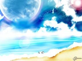 Обои Фэнтези пляж: Пляж, Океан, Панда, Мультик, Фэнтези
