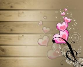 Обои Сердечки: Сердце, Вагонка, Рисунок, Фэнтези