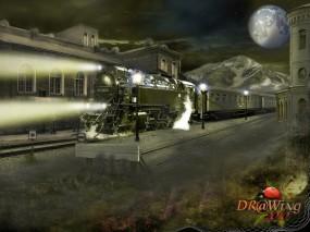 Обои Ночной экспресс: Огни, Ночь, Луна, Поезд, Экспресс, Фэнтези