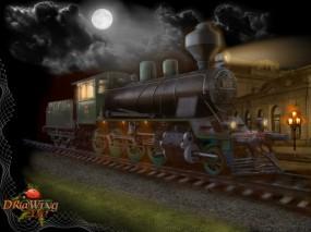 Обои Ночной вокзал: Ночь, Поезд, Вокзал, Тепловоз, Фэнтези