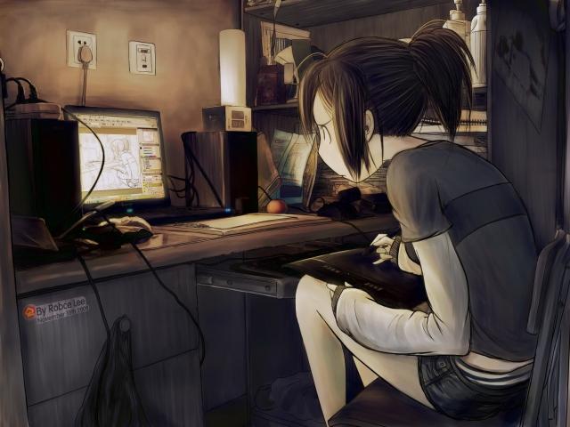Девочка дизайнер - рисует