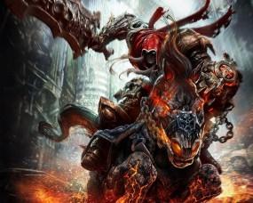 Обои Всадник Апокалипсиса Война: Меч, Лошадь, Darksiders, Фэнтези
