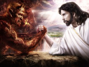 Обои Дьявол против Иисуса: Битва, Дьявол, Иисус, Бог, Фэнтези