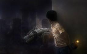 Обои Мальчик с бомбой: Рисунок, Бомба, Робот, Мальчик, Фэнтези