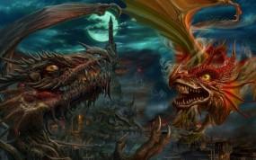 Обои Драконы: Битва, Драконы, Фэнтези