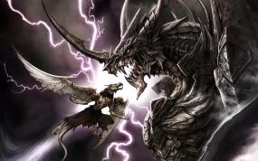 Обои драконы: Битва, Драконы, Схватка, Фэнтези