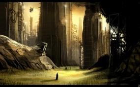Обои фантастика: Город, Силуэт, Будущее, Фэнтези