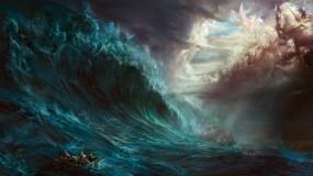 Обои шторм: Вода, Море, Кораблекрушение, Шторм, Шлюпка, Фэнтези