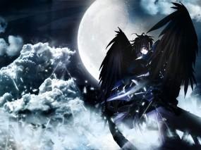 Обои Тёмный ангел: Луна, Небо, Чёрный, Фэнтези - Девушки