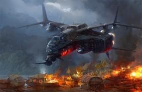 Обои Иноземное вторжение: Огонь, Лодки, Корабль, Разрушение, PaperBlue, Фэнтези