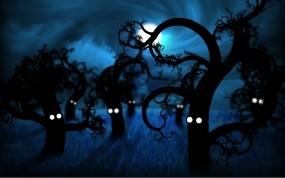 Обои Деревья с глазами: Деревья, Глаза, Луна, Рисунок, Небо, Синий, Фэнтези