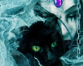 Обои Взгляд черной кошки: Взгляд, Чёрная кошка, Фэнтези
